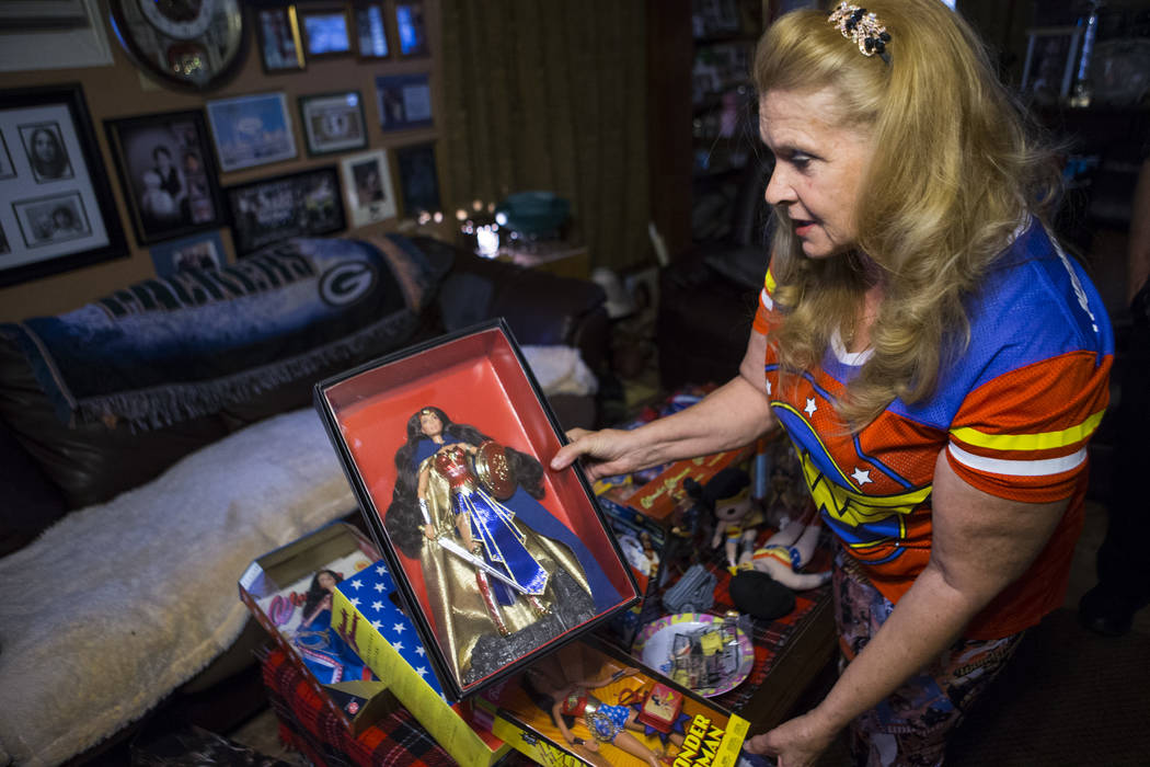 "Kim Renee, who was a stunt double for Lynda Carter in ""Wonder Woman,"" shows memorabilia at her home in Las Vegas on Friday, May 26, 2017. Chase Stevens Las Vegas Review-Journal @ ..."