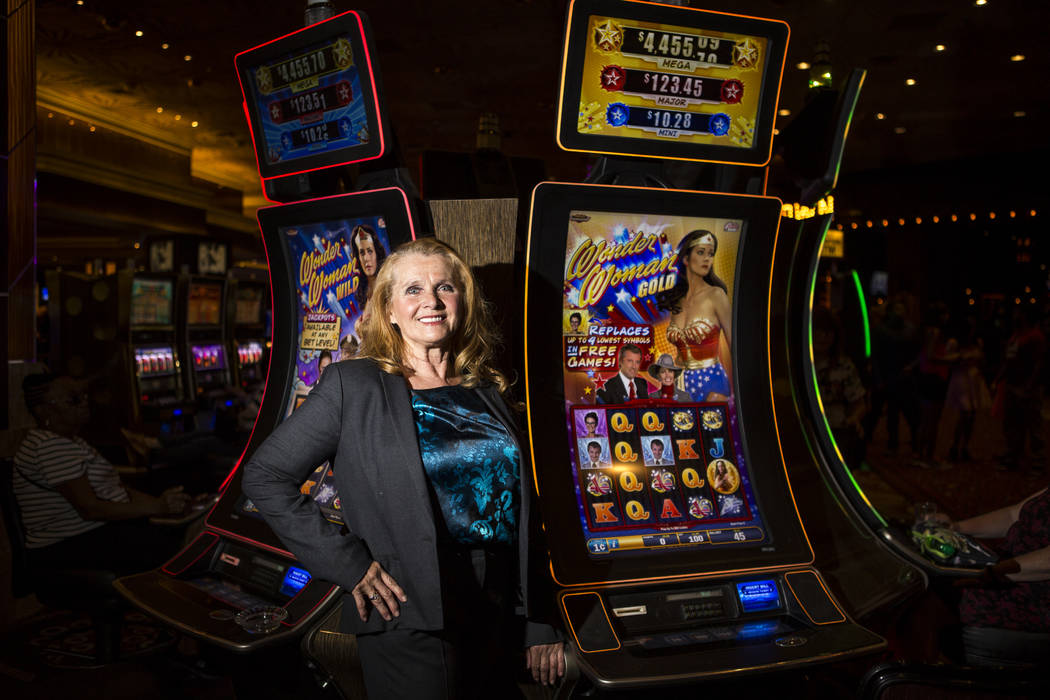 Kim Renee, one of Lynda Carter's stunt doubles in the Wonder Woman TV series, at the Wonder Woman slot machines in the MGM Grand on Tuesday, May 30, 2017. Patrick Connolly Las Vegas Review-Journal ...