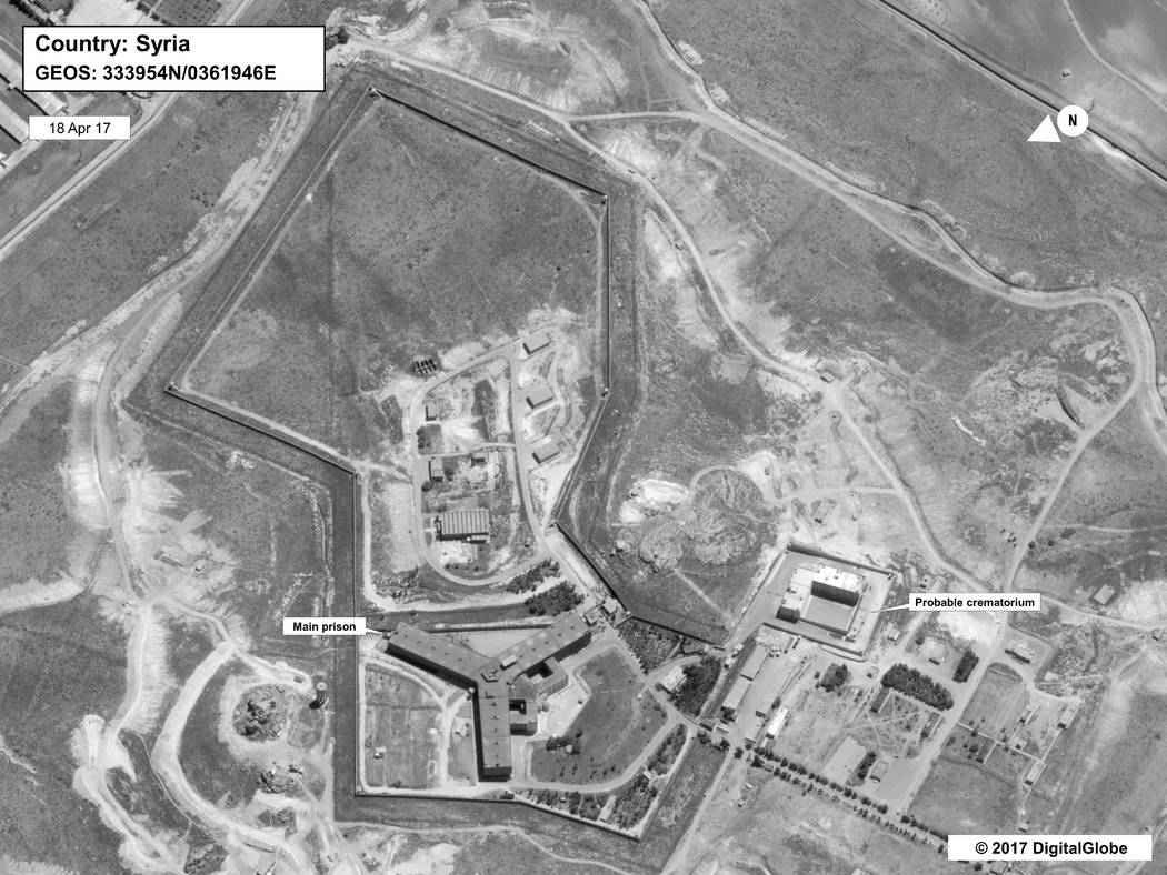 An April 18, 2017 satellite image of what the State Department described as a building in a prison complex in Syria that was modified to support a crematorium. (State Department/DigitalGlobe via AP)