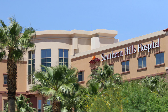 Southern Hills Hospital, located at 9300 W. Sunset Road, is shown Thursday, May 28, 2015, in Las Vegas. (Ronda Churchill/Las Vegas Review-Journal)