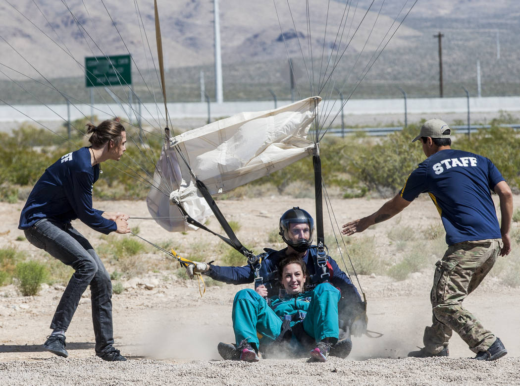 Jessica McCrane lands after skydiving with Vegas Extreme Skydiving instructor David Wessels at the Jean Sport Aviation Center in Jean on Tuesday, May 16, 2017. Patrick Connolly Las Vegas Review-Jo ...
