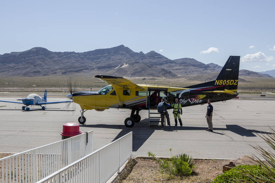 Bill McCrane, who just turned 60, boards a plane to skydive with his daughter, Jessica, with Vegas Extreme Skydiving at the Jean Sport Aviation Center in Jean on Tuesday, May 16, 2017. Patrick Con ...