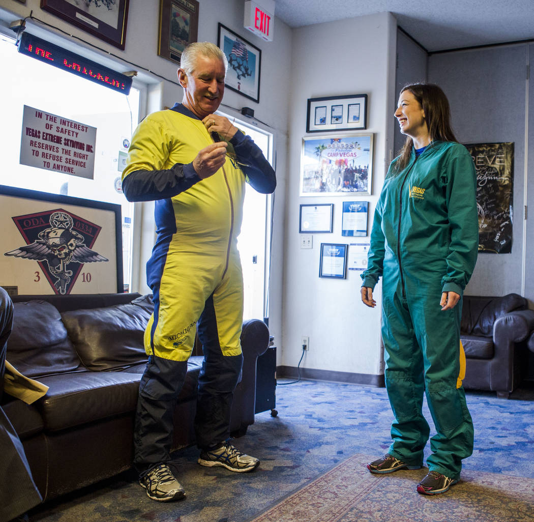 Bill McCrane, who just turned 60, prepares to skydive with his daughter, Jessica, with Vegas Extreme Skydiving at the Jean Sport Aviation Center in Jean on Tuesday, May 16, 2017. Patrick Connolly  ...