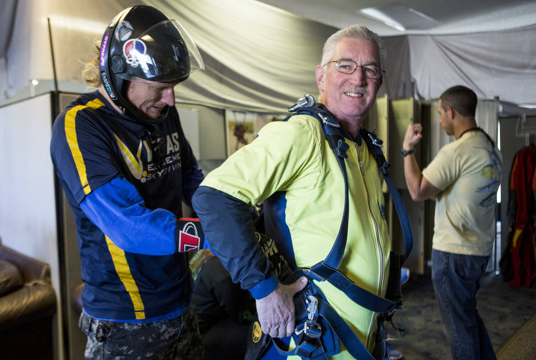 Bill McCrane, who just turned 60, prepares to skydive with Vegas Extreme Skydiving instructor John Fulk at the Jean Sport Aviation Center in Jean on Tuesday, May 16, 2017. Patrick Connolly Las Veg ...