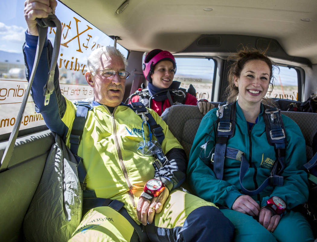 Bill McCrane, who just turned 60, catches his breath after skydiving with his daughter, Jessica, with Vegas Extreme Skydiving at the Jean Sport Aviation Center in Jean on Tuesday, May 16, 2017. Pa ...