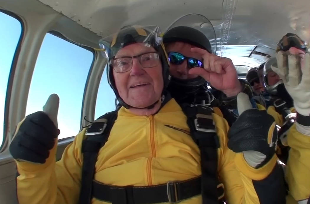 In this grab taken from video, Verdun Hayes gestures prior to tandem skydiving, in Devon, England, Sunday, May 14, 2017. (Skydive.buzz via AP)