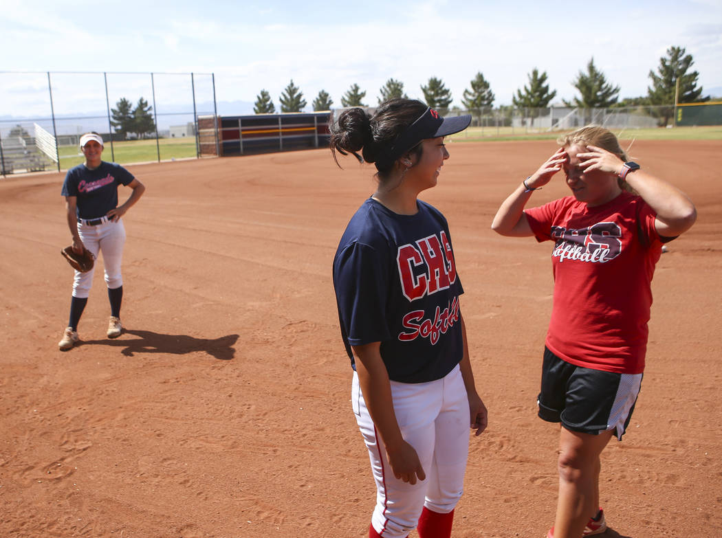 Coronado catcher Taylor Okamura talks with head coach Missy Krueger during practice at the school in Henderson on Tuesday, May 16, 2017. Chase Stevens Las Vegas Review-Journal @csstevensphoto