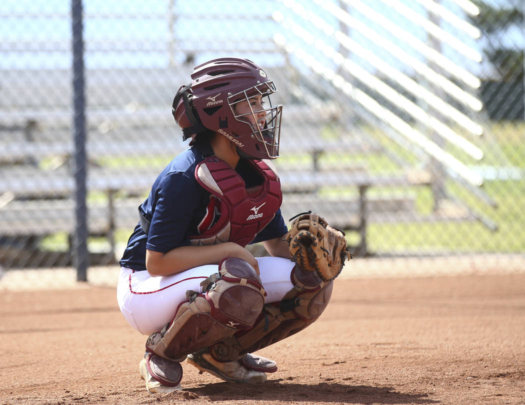 Coronado catcher Taylor Okamura during practice at the school in Henderson on Tuesday, May 16, 2017. Chase Stevens Las Vegas Review-Journal @csstevensphoto