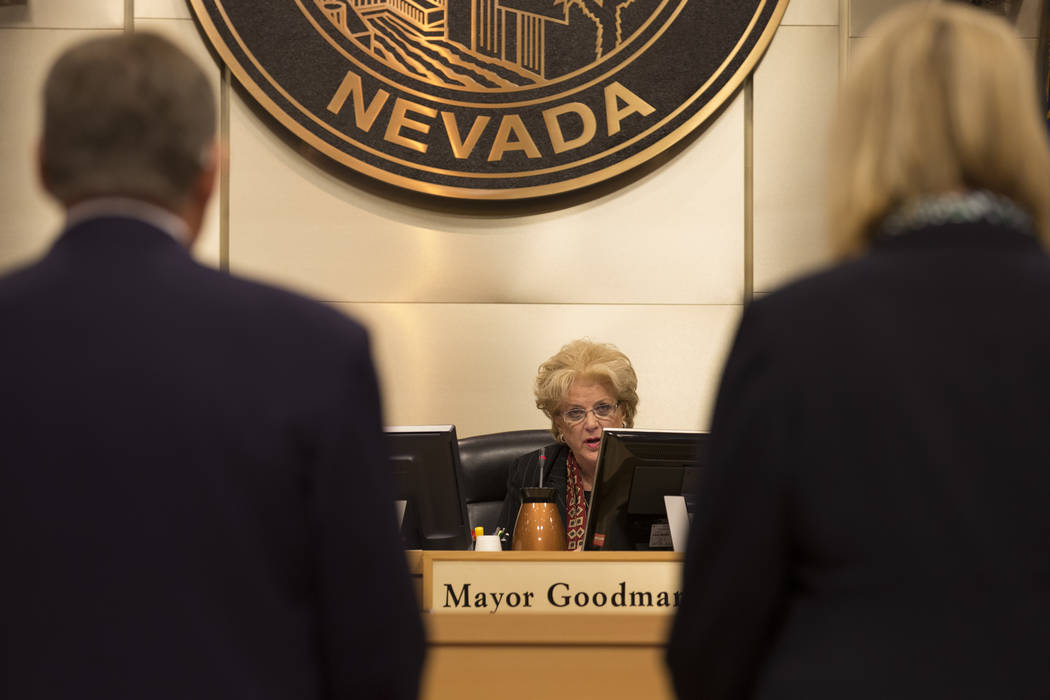 Mayor Carolyn Goodman is seen during a city council meeting at Las Vegas City Hall on Wednesday, Feb. 15, 2017, in Las Vegas. (Bridget Bennett/Las Vegas Review-Journal) @bridgetkbennett