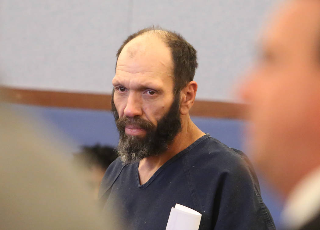 Edward Bedrosian, who was charged with murder after remains were found near Lake Mead Recreational Area, appears in court at the Regional Justice Center on Tuesday, May 16, 2017, in Las Vegas. Biz ...
