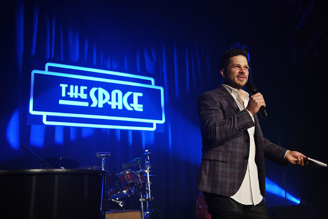 "Mark Shunock celebrates the grand opening of The Space, the new home of ""Mondays Dark,"" on Thursday, Jan. 5, 2017, in Las Vegas. (Denise Truscello/WireImage)"