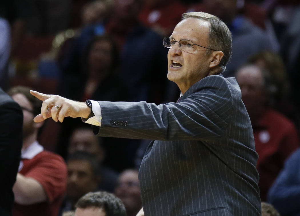 Oklahoma head coach Lon Kruger gestures during an NCAA college basketball game between Oklahoma State and Oklahoma in Norman, Okla., Monday, Jan. 30, 2017. Oklahoma State won 68-66. (AP Photo/Sue  ...
