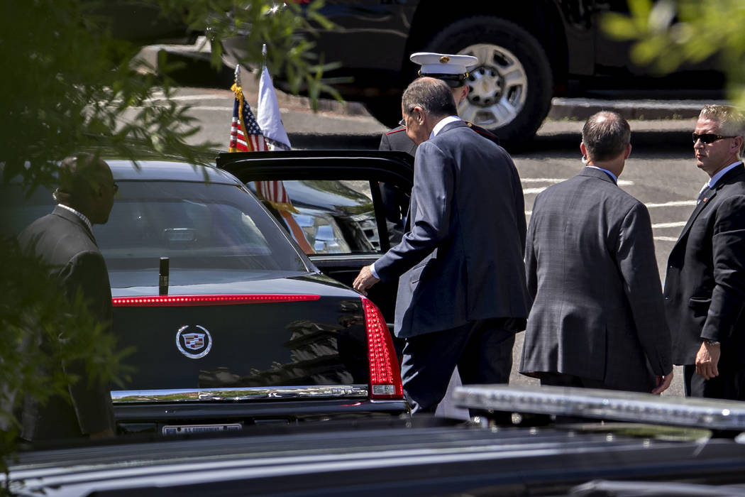 Sergei Lavrov, Russia's foreign minister, center, leaves after a meeting with President Trump at the White House last Wednesday. (Andrew Harrer/Bloomberg)