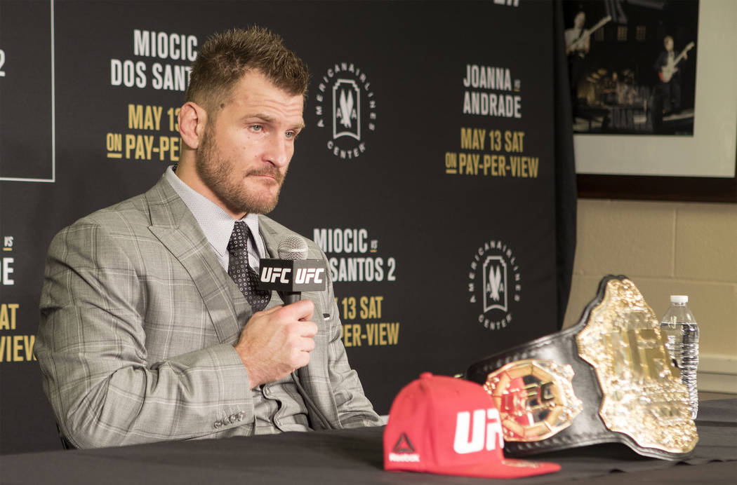 UFC heavyweight champion Stipe Miocic listens to media questions at the UFC 211 post-fight press conference at the American Airlines Center in Dallas, Texas, on Saturday, May 13, 2017. Heidi Fang/ ...
