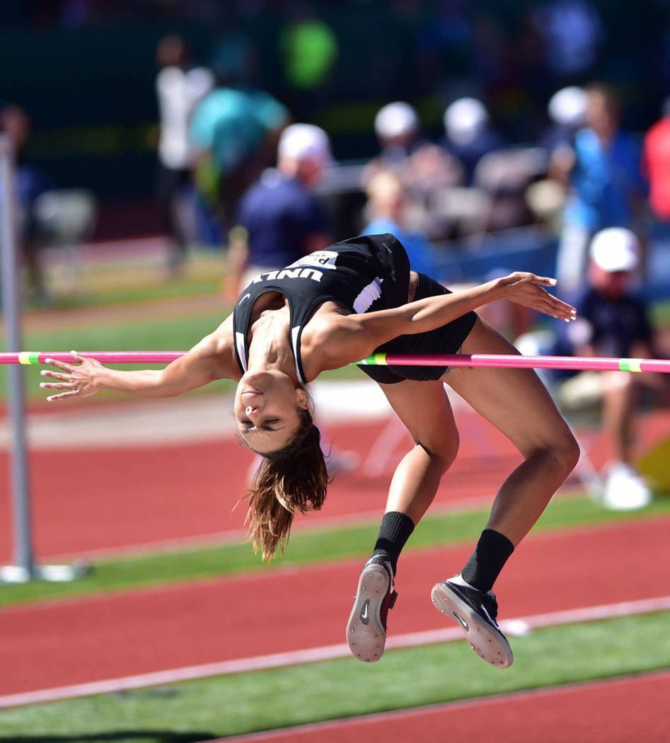 UNLV senior high jumper Kaysee Pilgrim in action earlier this season. Photo courtesy of UNLV Athletics.