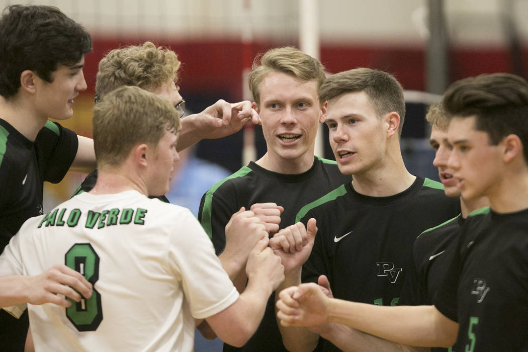 Palo Verde players celebrate a play during a match against Coronado for the Sunset Region volleyball finals at Coronado High School Friday, May 12, 2017 in Henderson. Palo Verde won 3-1, making th ...