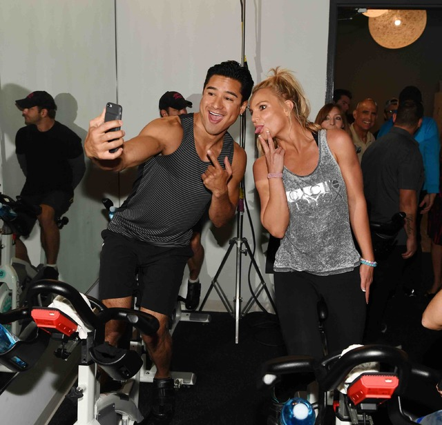 Mario Lopez and Britney Spears at X Cycle on Thursday, Oct. 27, 2016, in Boca Park. (Courtesy)