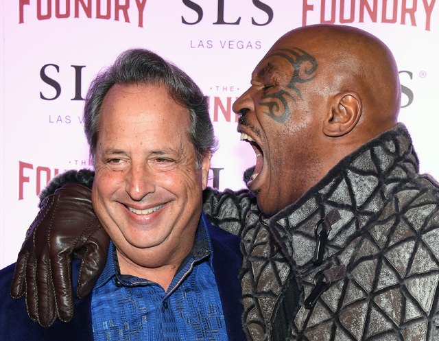 "Jon Lovitz and former boxer Mike Tyson joke around at the kickoff of Lovitz and Dana Carvey's 20-show residency ""Reunited"" at The Foundry at SLS Las Vegas on Friday, Jan. 6, 2017, in Las Vegas. (E ..."