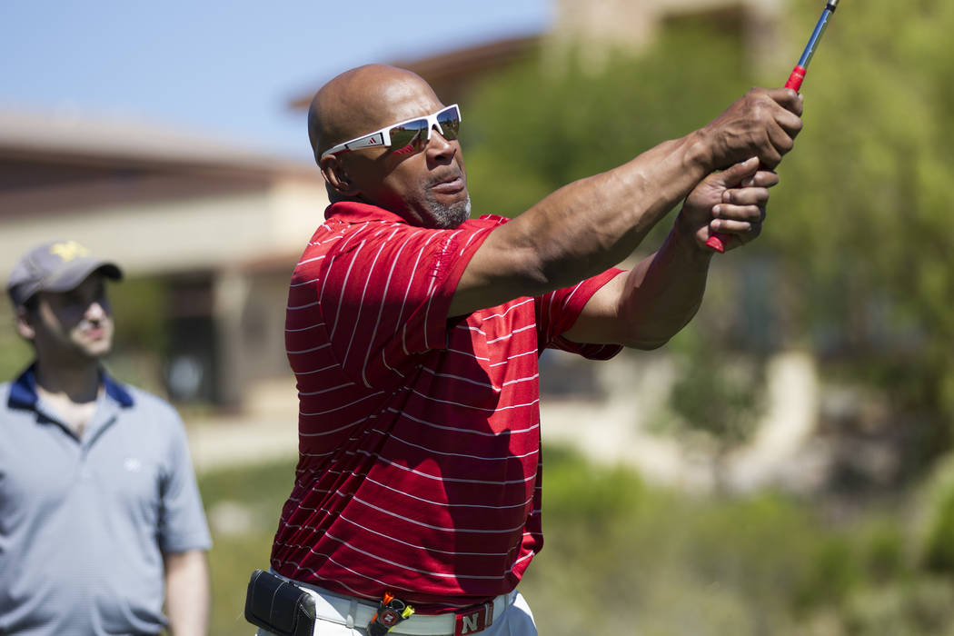 Heisman Trophy winner Mike Rozier at the Bear's Best Las Vegas golf course on Saturday, May 20, 2017 in Las Vegas. Erik Verduzco/Las Vegas Review-Journal