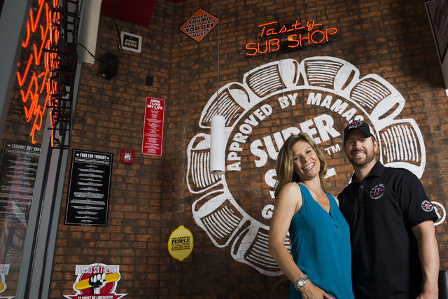 Jamie Little and Cody Selman at the Jimmy John's sandwich shop they own and operate, Tuesday, May 10, 2016, in Las Vegas. Benjamin Hager/Las Vegas Review-Journal