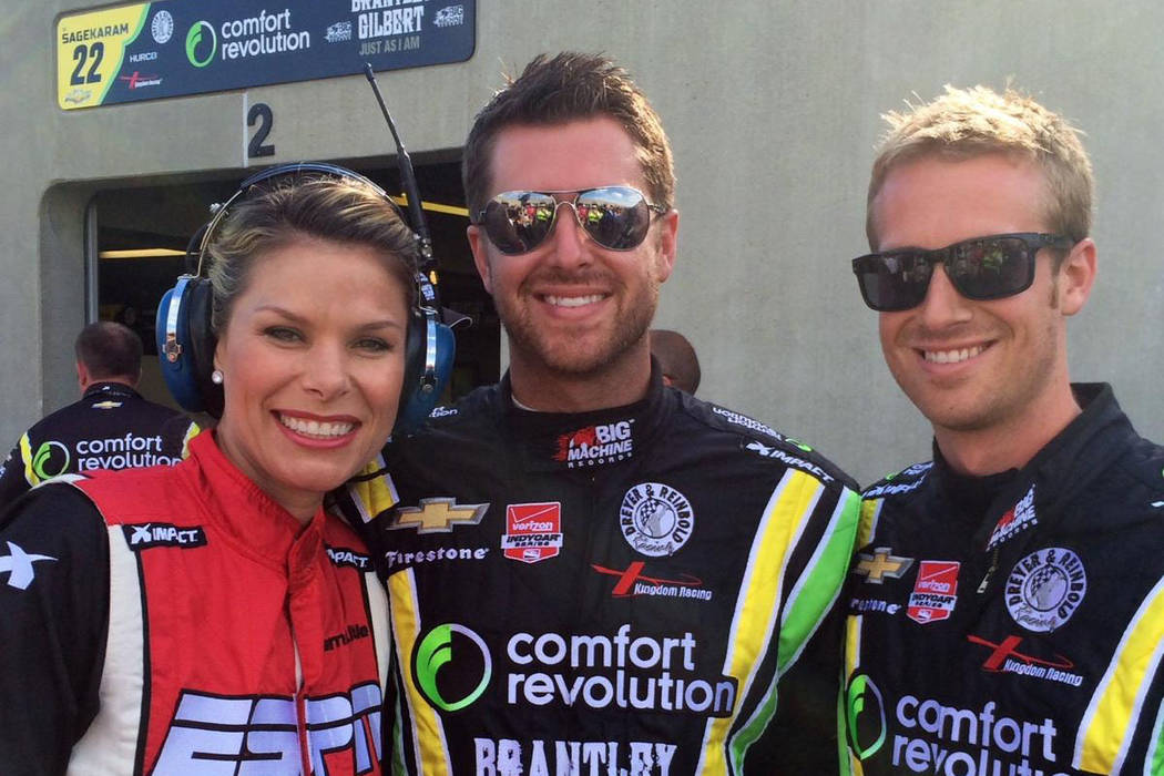 Pit road reporter Jamie Little of Las Vegas, left, is shown with husband Cody Selman, middle and brother-in-law Chase Selman at the Indianapolis 500. Cody and Chase Selman will serve as pit crew m ...
