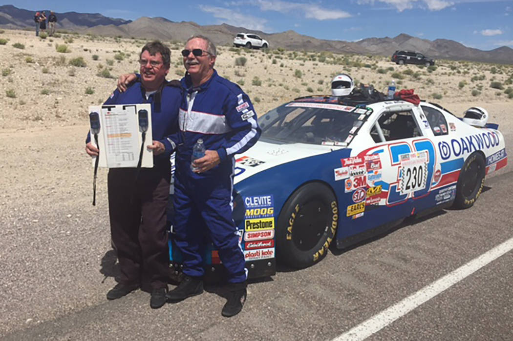 Bob Allyn, right, and navigator Dave Bauer set a Nevada Open Road Challenge average speed record of 219.643 mph in a former NASCAR Cup Series car driven by Joe Nemechek. (Malcolm Johnson)