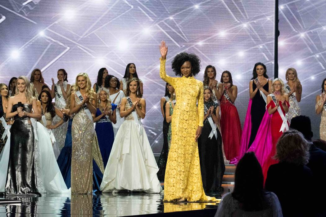 2016 Miss USA Deshauna Barber of The District of Columbia takes her final walk and waves during The Miss USA Pageant at Mandalay Bay Events Center on Sunday, May 14, 2017, in Las Vegas. (Tom Stark ...