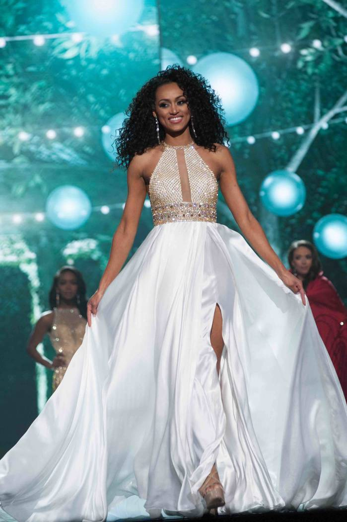 Kara McCullough of The District of Columbia competes in The Miss USA Pageant at Mandalay Bay Events Center on Sunday, May 14, 2017, in Las Vegas. McCullough would later be crowned Miss USA. (Patri ...