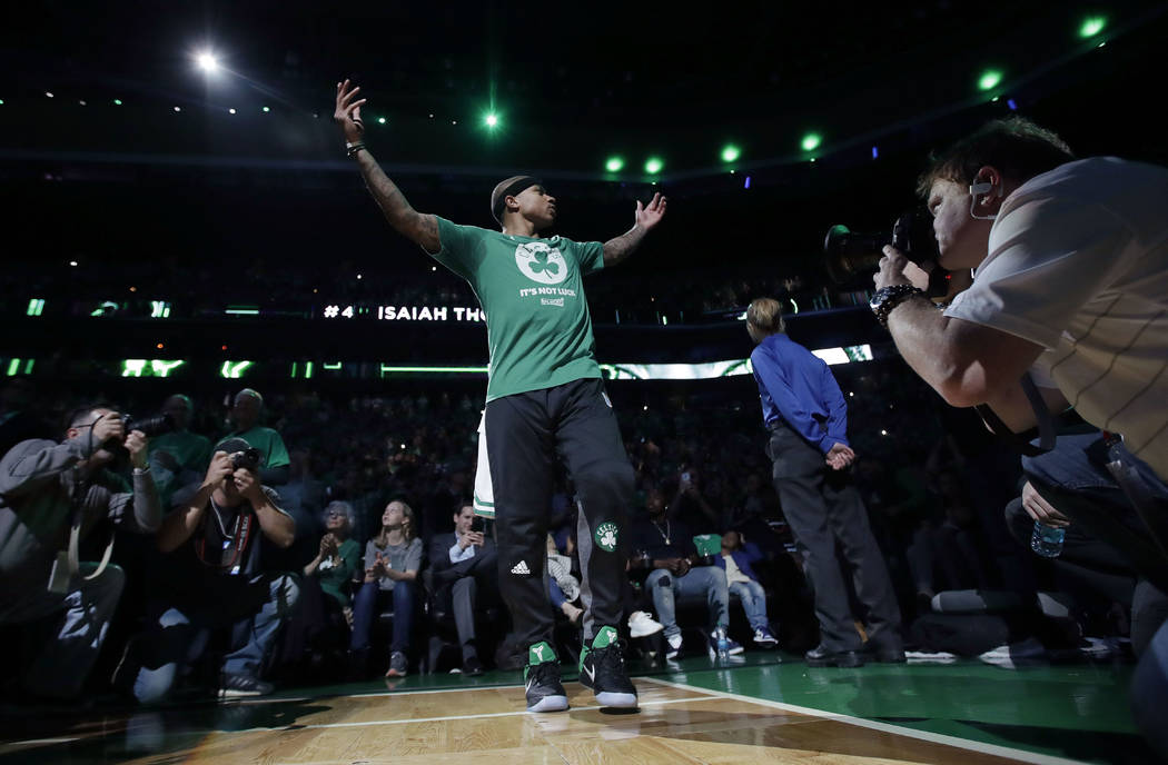 Boston Celtics guard Isaiah Thomas is introduced before Game 7 of a second-round NBA basketball playoff series against the Washington Wizards, Monday, May 15, 2017, in Boston. (AP Photo/Charles Krupa)