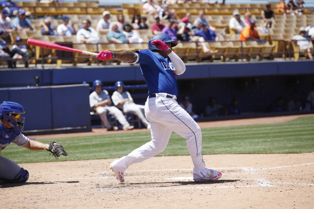 Las Vegas 51's infielder Dominic Smith bats on Sunday, May 14, 2017, during a gameat Cashman Field in Las Vegas. Rachel Aston Las Vegas Review-Journal @rookie__rae
