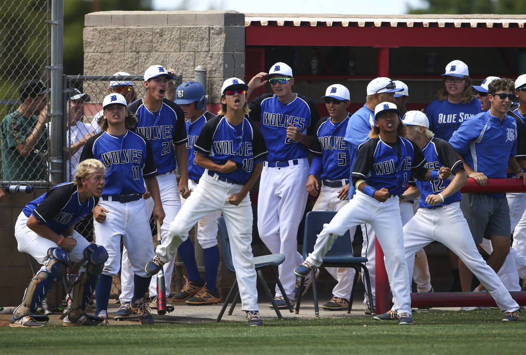 Basic players react after a home run by Basic's Garrett Giles, not pictured, during a Class 4A state baseball tournament game against Galena at Las Vegas High School in Las Vegas on Thursday, May  ...