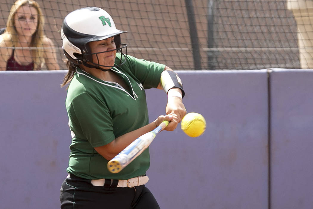 Palo Verde senior Richmond Garcia (10) hits the ball during a game against Rancho at Bishop Gorman High School in part of the Class 4A state softball tournament on Thursday, May 18, 2017 in Las Ve ...