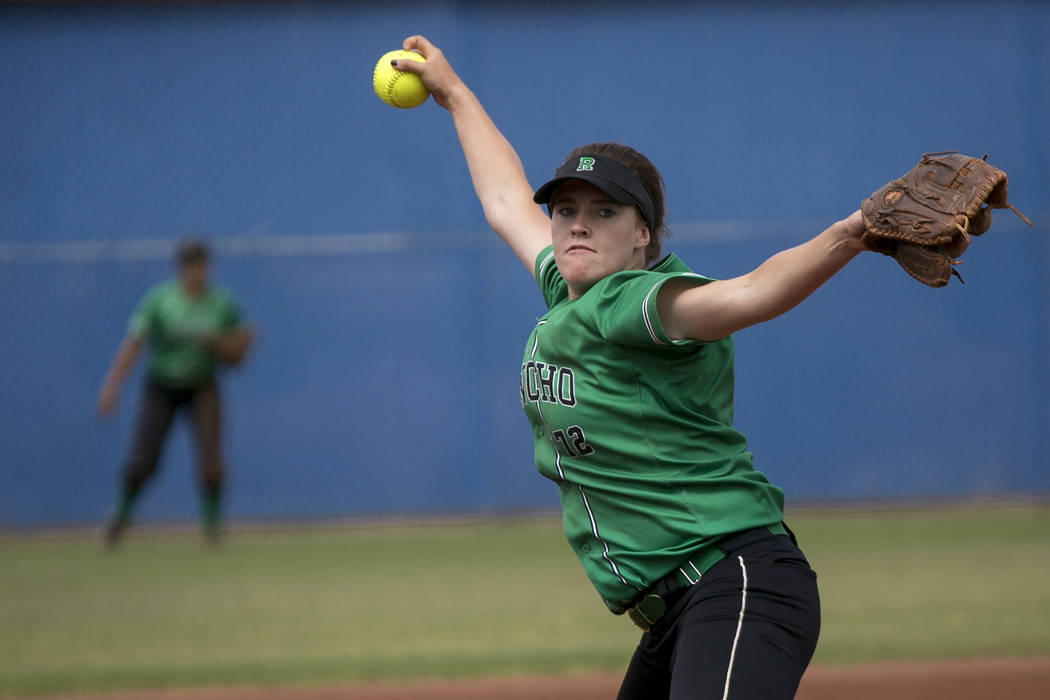 Rancho senior Sam Pochop (72) pitches to Palo Verde during a game in the Class 4A state softball tournament at Bishop Gorman High School on Thursday, May 18, 2017, in Las Vegas. Palo Verde won 3-2 ...