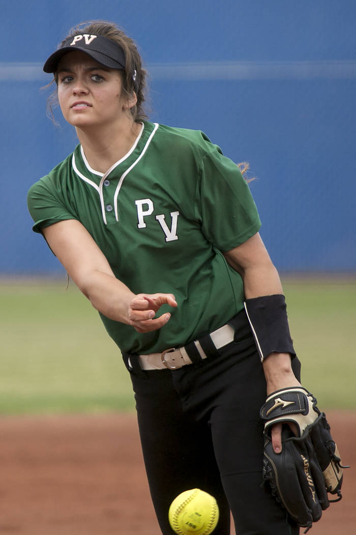 Palo Verde junior Taylor Askland (3) pitches to Rancho during a game in the Class 4A state softball tournament at Bishop Gorman High School on Thursday, May 18, 2017, in Las Vegas. Palo Verde won  ...
