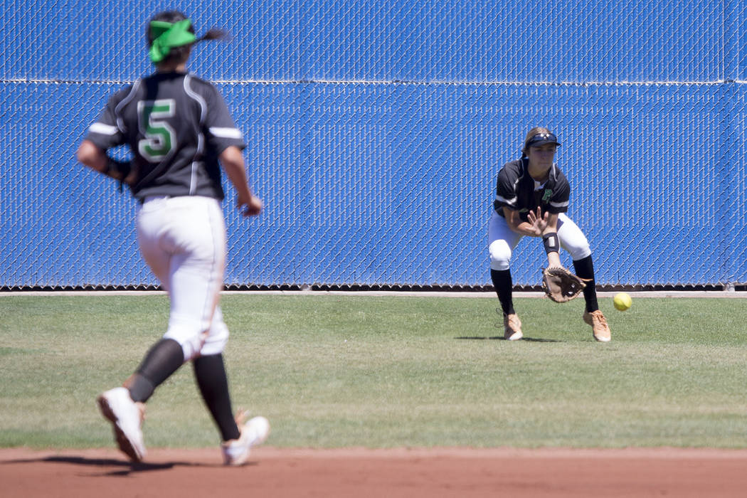 Palo Verde sophomore Camden Zahn prepares to catch the ball during a game against Reed at Bishop Gorman High School on Friday, May 19, 2017, in Las Vegas. Palo Verde won 2-0 and will advance to ch ...