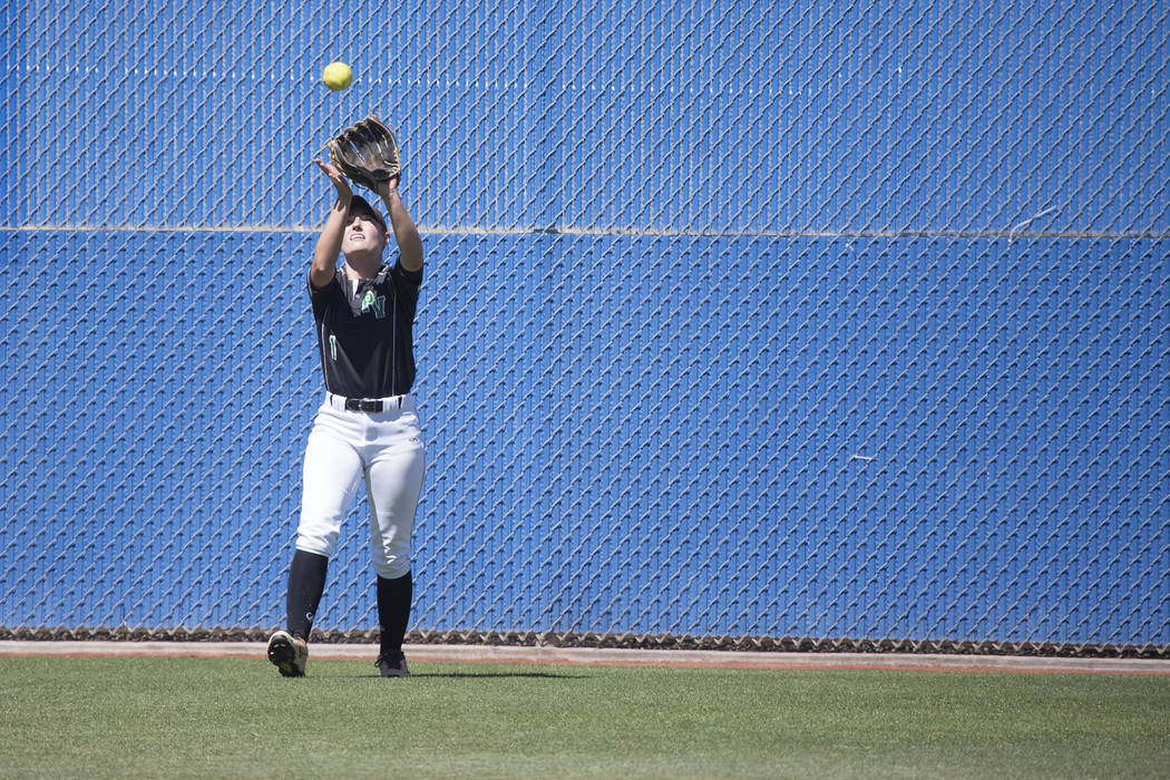 Palo Verde junior Makall Whetten catches the ball, getting Reed out, during a game at Bishop Gorman High School on Friday, May 19, 2017, in Las Vegas. Palo Verde won 2-0 and will advance to champi ...