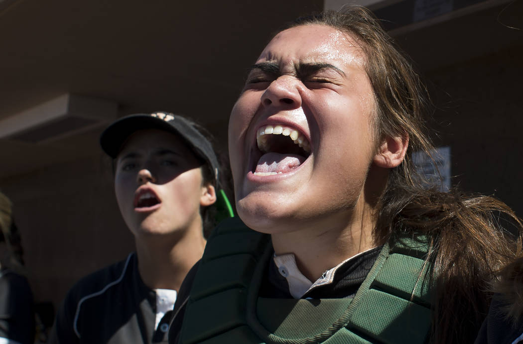 Palo Verde junior Grace Chavez cheers on her teammates during a game against Reed at Bishop Gorman High School on Friday, May 19, 2017, in Las Vegas. Palo Verde won 2-0 and will advance to champio ...