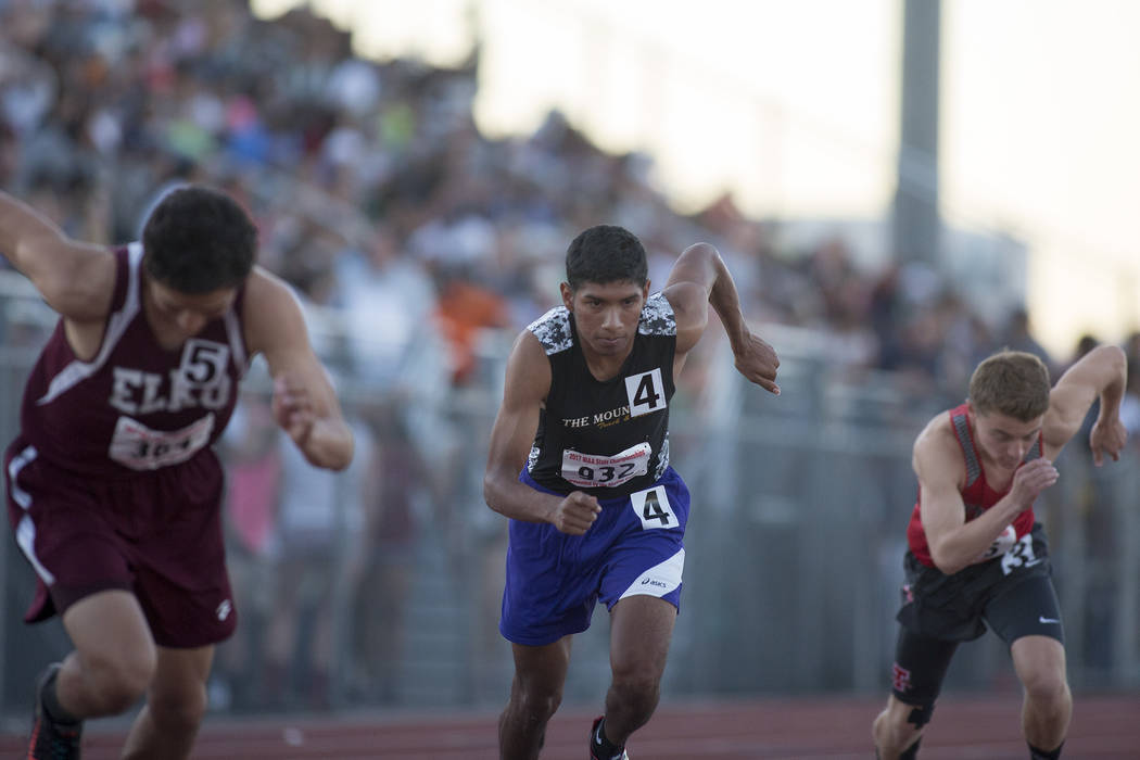 Sunrise Mountain senior Musio Jimenez-Vazquez, center, takes off in the 3A boys 800-meter dash at the NIAA State Track & Field Championships at Foothill High School on Friday, May 19, 2017 in  ...