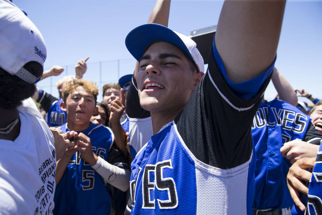 Basicճ Tommy Paonessa celebrates with his teammates after defeating Galena in the NIAA Class 4A State Championship baseball game at Las Vegas High School in Las Vegas on Saturday, May 20, 20 ...