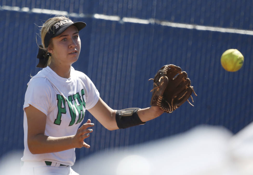 Palo Verde's Camden Zahn prepares to catch the ball during a Class 4A State Championship softball game against Reed High School in Las Vegas on Saturday, May 20, 2017. Bizuayehu Tesfaye Las Vegas  ...
