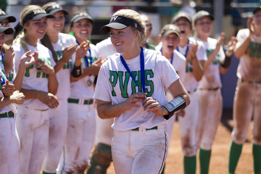 Palo Verde's Kendall Hopkins (8) after receiving he first place medal following her team's win against Reed in the Nevada Class 4A state softball final on Saturday, May 20, 2017 in Las Vegas. Palo ...