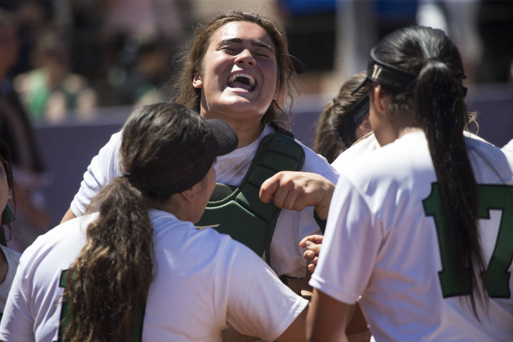 Palo Verde's Grace Chavez (25) cheers on her team in between innings against Reed in the Nevada Class 4A state softball final on Saturday, May 20, 2017 in Las Vegas. Palo Verde won 9-3. Erik Verdu ...