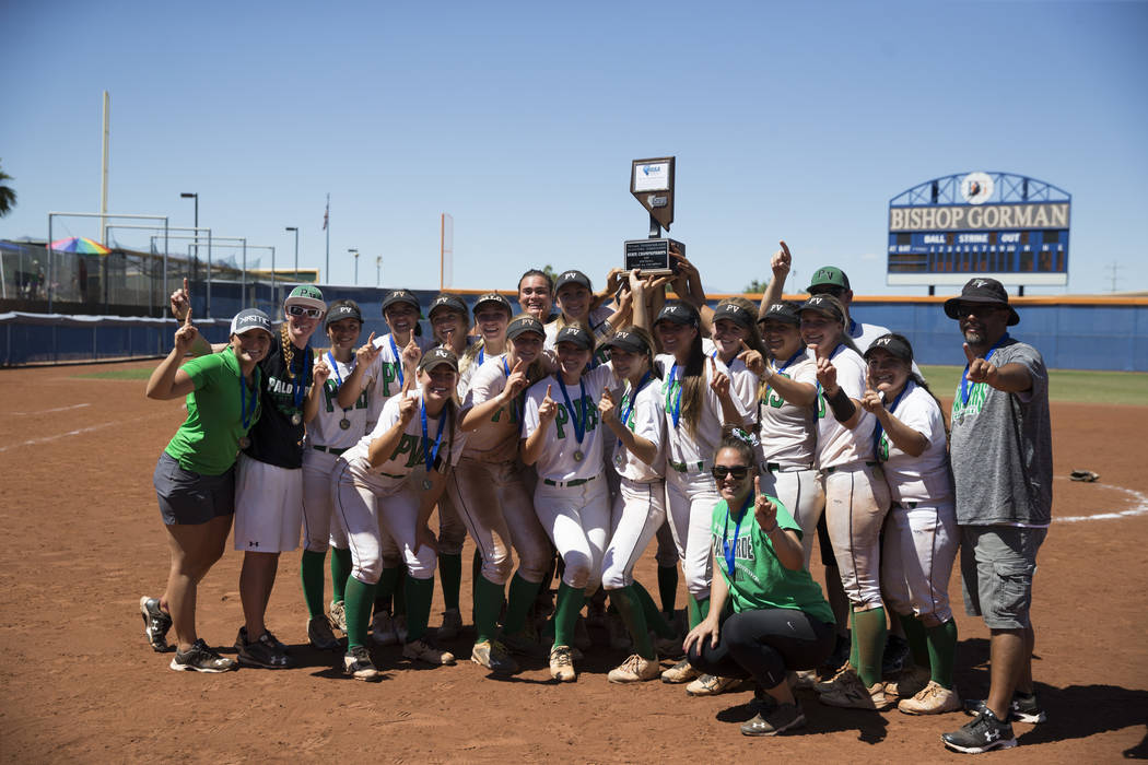 Palo Verde celebrate their 9-3 win against Reed in the Nevada Class 4A state softball final on Saturday, May 20, 2017 in Las Vegas. Erik Verduzco/Las Vegas Review-Journal