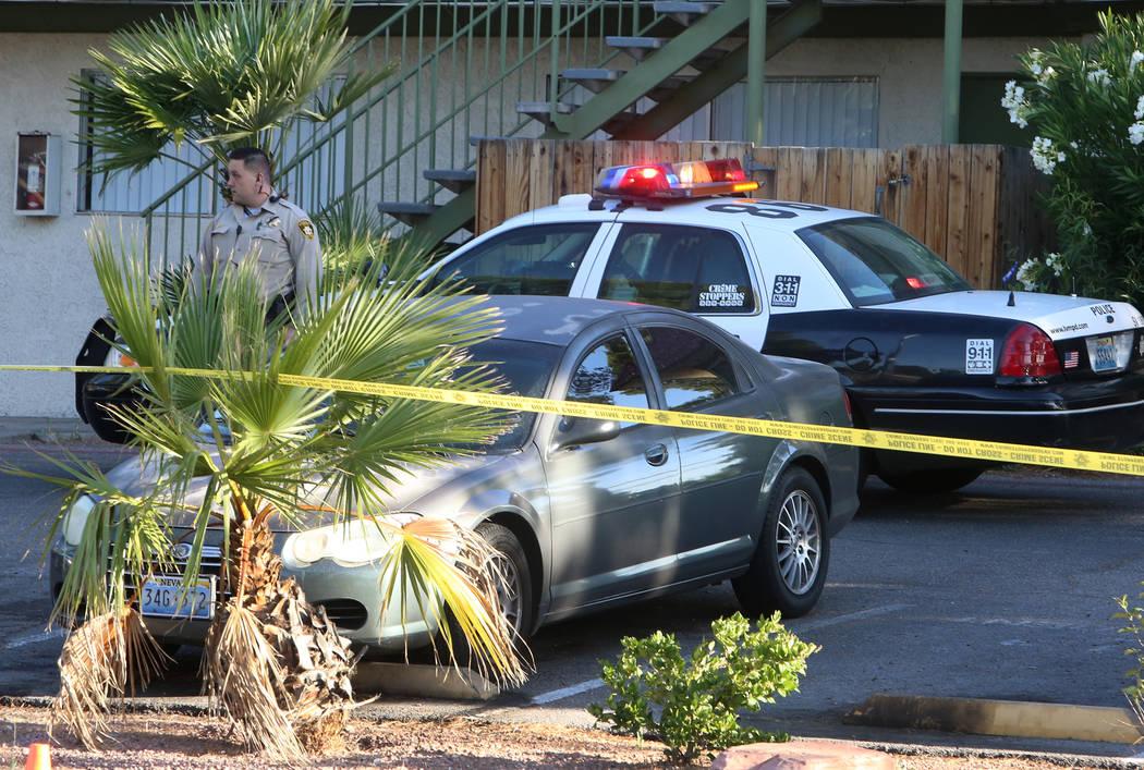 Las Vegas police investigate a homicide at 2880 S. Decatur Tuesday morning, May 16, 2017, in Las Vegas. Bizuayehu Tesfaye Las Vegas Review-Journal @bizutesfaye