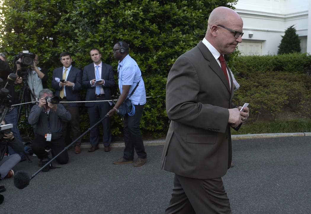 National security adviser H.R. McMaster walks back to the West Wing of the White House in Washington, Monday, May 15, 2017, after speaking to the media. (Susan Walsh/AP)