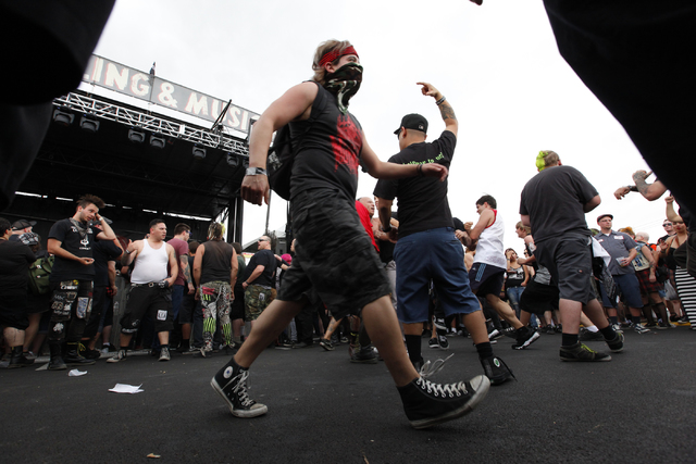 The mosh pit area is seen as Devil's Brigade performs at the Punk Rock Bowling music festival in downtown Las Vegas on Saturday, May 24, 2014. (Chase Stevens/Las Vegas Review-Journal)