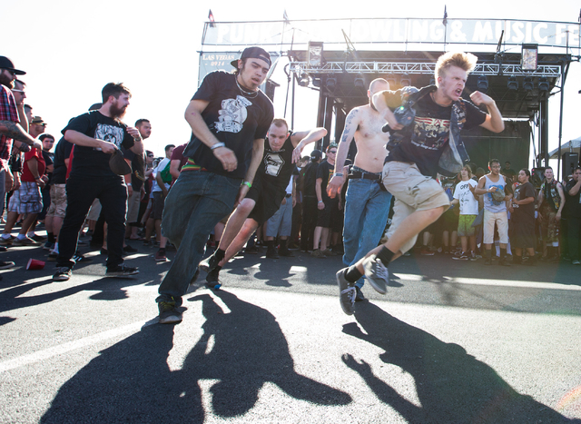 Fans mosh as Cerebral Ballzy performs at the Punk Rock Bowling music festival in downtown Las Vegas on Monday, May 26, 2014. (Chase Stevens/Las Vegas Review-Journal)
