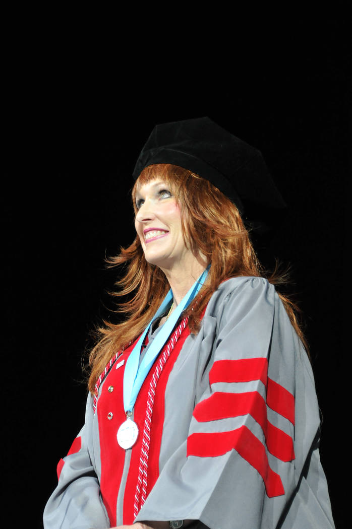 Janet King, 54, waits onstage May 13, 2017, to receive her doctorate at UNLV's spring commencement ceremony at the Thomas & Mack Center. (Jeff Mosier/View)