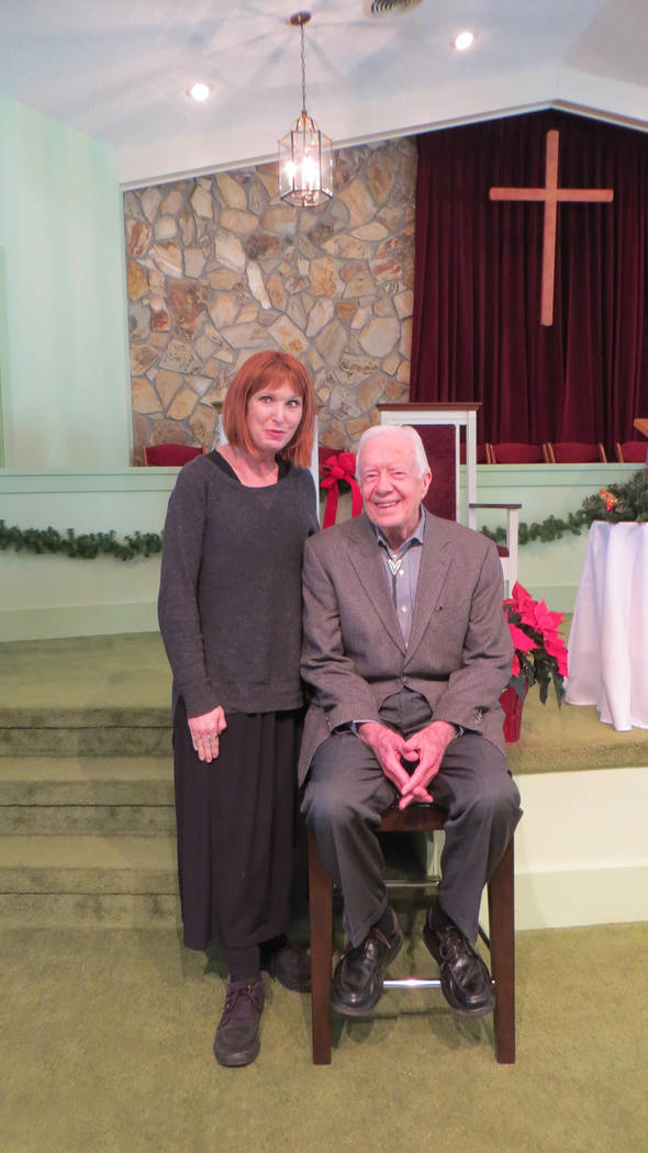 Janet King is shown with former President Jimmy Carter in 2016 at Marantha Baptist Church in Plains, Georgia. (Janet King)