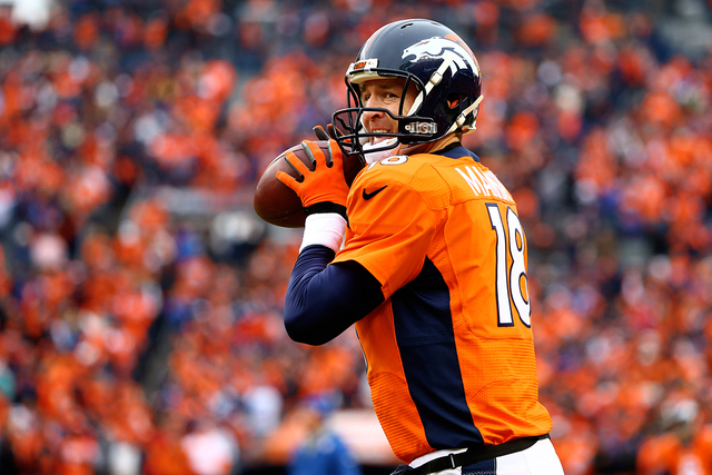 Jan 11, 2015; Denver, CO, USA; Denver Broncos quarterback Peyton Manning warms up prior to the game against the Indianapolis Colts in the 2014 AFC Divisional playoff football game at Sports Author ...